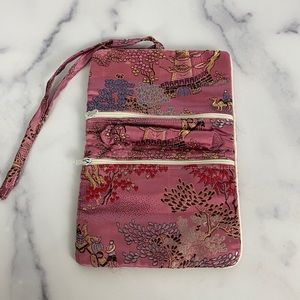 Asian print pink small jewelry holder
